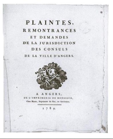 Cahier de doléances. 1789. Imprimé
